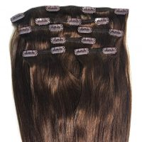 Clips Hair - 7P - Luxury Hair - Rakt - 100g - #4 - Mörkbrun