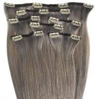 Clips Hair - 7P - Luxury Hair - Rakt - 100g - #Silver