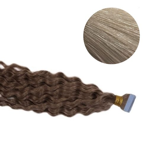Tape Hair - Curly - 50g - Kall Ljusblond - #60A
