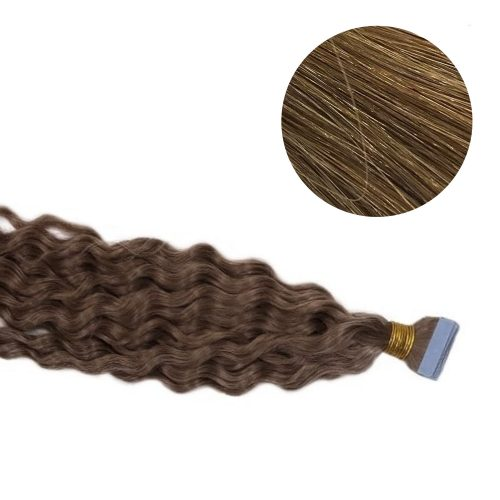Tape Hair - Curly - 50g - Ljusbrun - #10