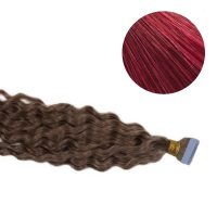 Tape Hair - Curly - 50g - Mörk Rödbrun - #BUG