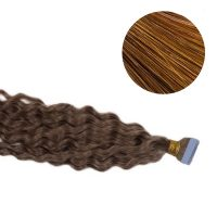 Tape Hair - Curly - 50g - Mellanbrun - #6