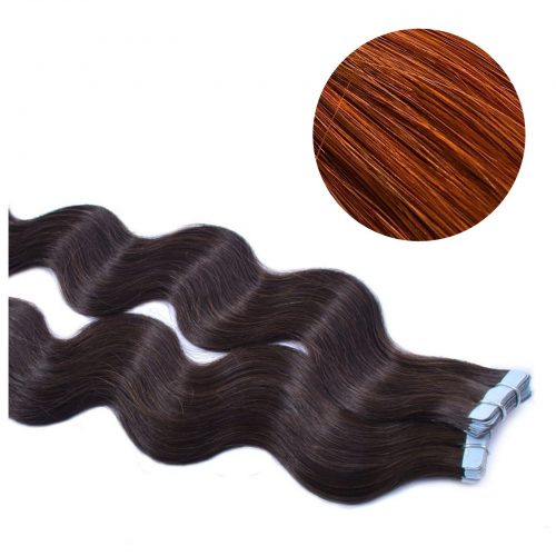 Tape Hair - Wavy - 50g - Ljus Rödbrun - #33